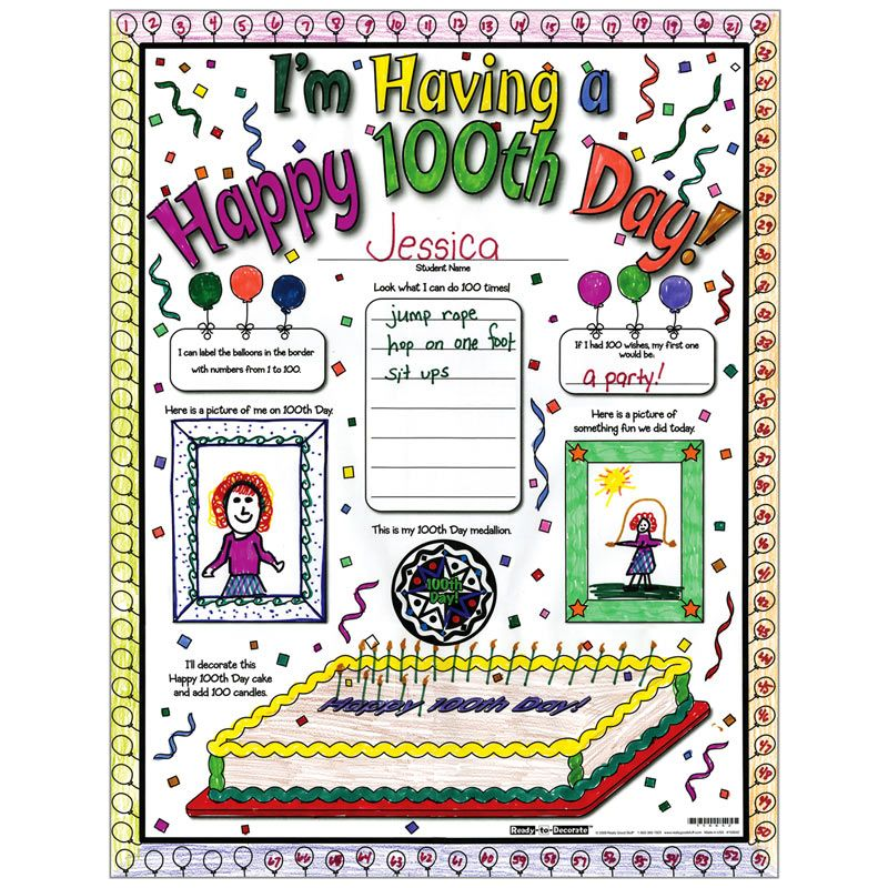 Ready-To-Decorate? Happy 100th Day! Posters - Class Set - Walmart.com