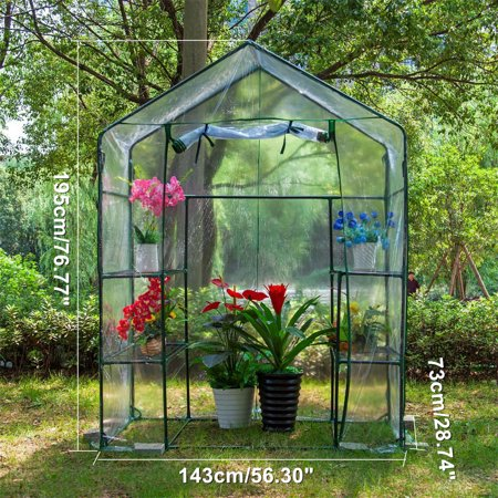 Mini Walk-in Greenhouse Indoor Outdoor -2 Tier 4 Shelves- Portable Plant Gardening Greenhouse (56L x 28W x 76H Inches), Grow Seeds & Seedlings, Herbs Flowers or Tend Potted Plants - image 4 of 4
