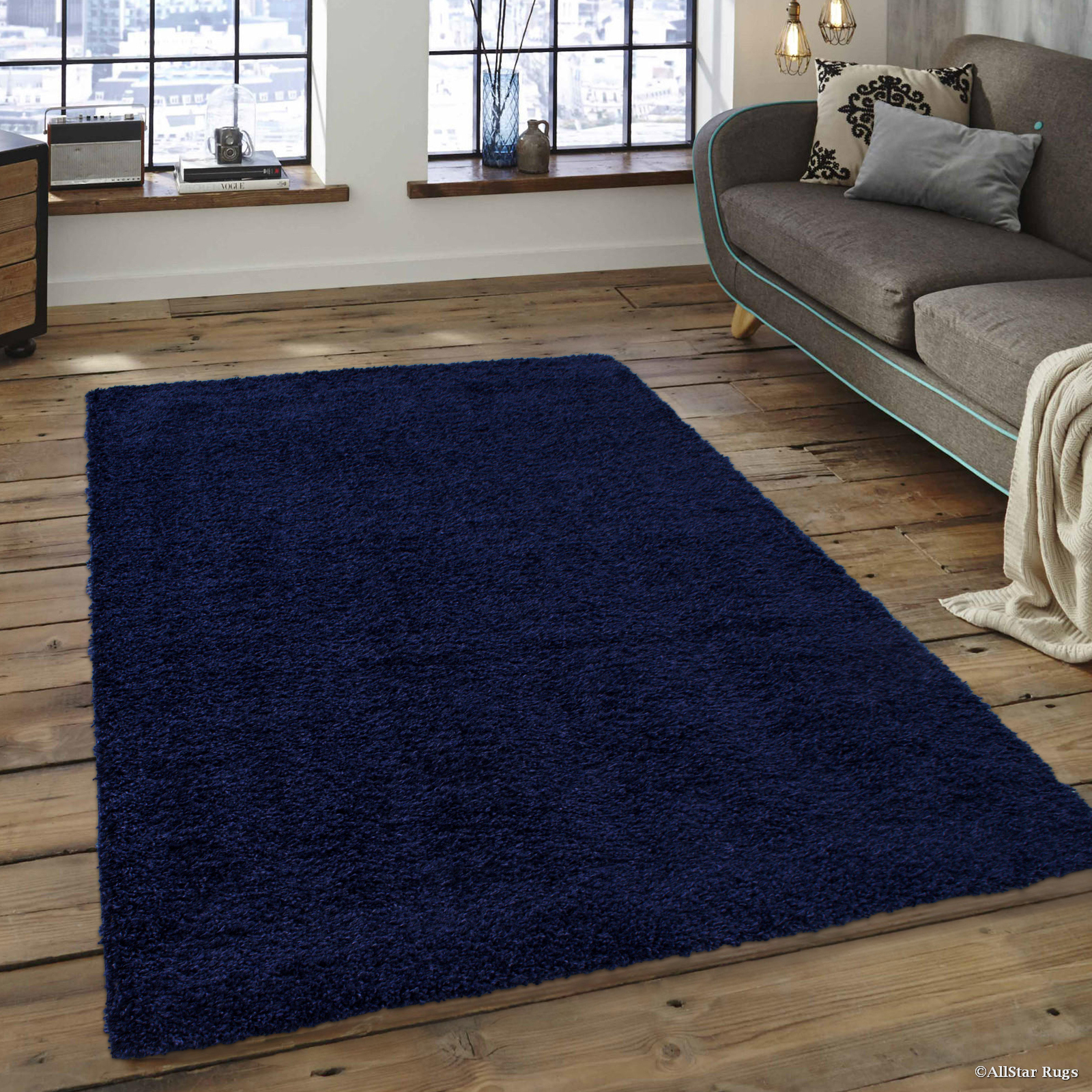 "Allstar Modern Contemporary Denim High Pile Posh and Shaggy Solid Area Rug (7' 9"" x 10' 0"") by"