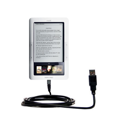 Classic Straight USB Cable suitable for the Barnes and Noble Nook 3G Wi-Fi  with Power Hot Sync and Charge Capabilities
