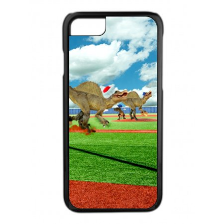 Dinosaurs on a Baseball Field Design Protective Durable Tough Black Plastic Overcase + Hard Rubber Lining Phone Case That Is Compatible with the Apple iPhone (Baseball Field Lining)