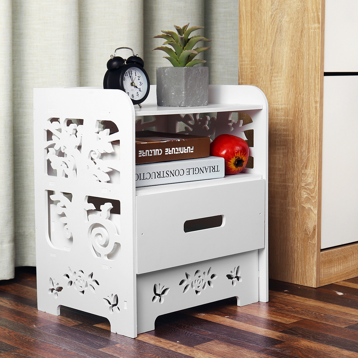 Diy Modern White Bedroom Bedside Table Rack Carved Hollow Nightstand Storage With Drawer Home Decoration Size 15 16 X11 61 X18 11 Walmart Com Walmart Com