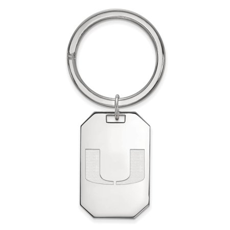 925 Sterling Silver Rhodium Plated Laser Cut University Of Miami Key Chain