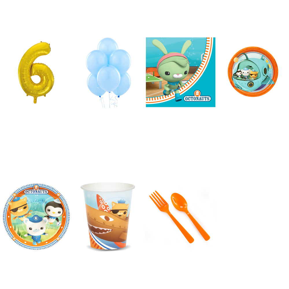 OCTONAUTS PARTY SUPPLIES PARTY PACK FOR 32 WITH GOLD #6 BALLOON