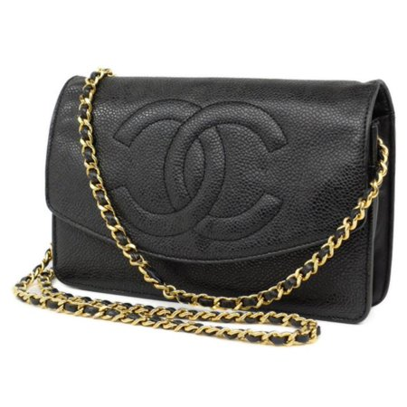 bfdd90452e30 Chanel - Wallet on Chain Woc 224659 Black X Gold Caviar Leather ...