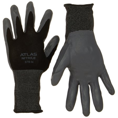 Toughworks Scrim (NT370 Nitrile Tough Glove, Coated Nitrile Size palm Black fingers Orange Powder Insulated Gloves Work Mill 370M Pack Assembly 10 Atlas 12 Glove Small in.., By Atlas Ship from)
