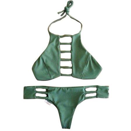Womens Halter Neck Bikini Sets Push Up Swimsuit Padded Strappy Beachwear Swimwear