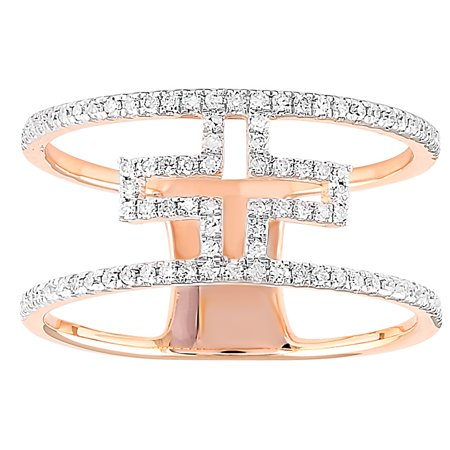 1/4 cttw Diamond Open Cross Ring, Sterling Silver with 18kt Rose Gold Plated