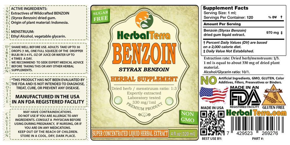 Benzoin (Styrax Benzoin) Tincture, Powdered Gum Liquid Extract (Herbal  Terra, USA) 2 oz