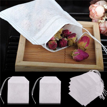 Disposable Drawstring Tea Filter Bags, Empty Natural Material Tea Infuser Bag for Herb & Tea Loose Leaf Pack of 50 ()