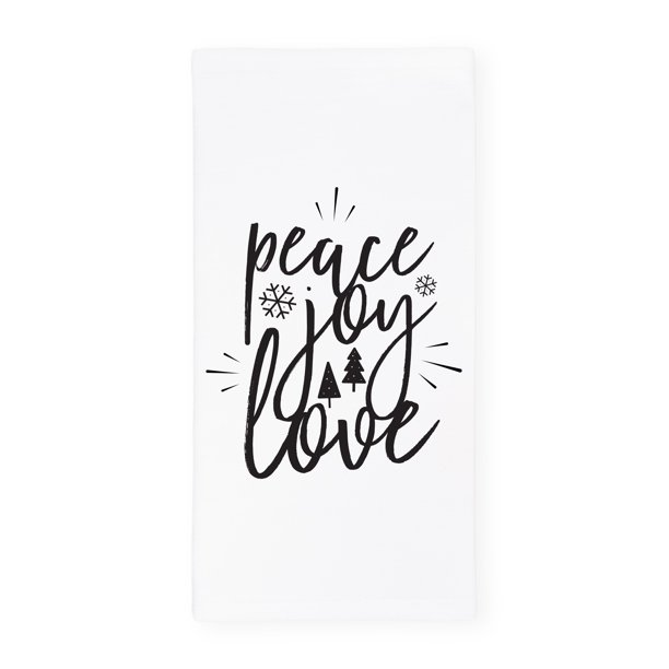 The Cotton Canvas Co Peace Joy Love Christmas And Holiday Absorbent Kitchen Tea Towel Flour Sack Towel Dish Cloth Walmart Com Walmart Com