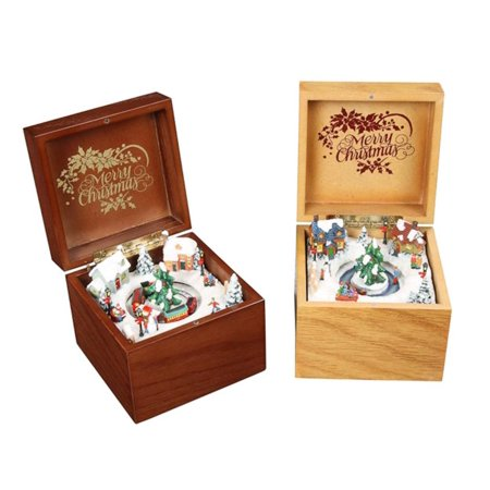 Pack of 4 Icy Crystal Decorative Animated Wooden Music Boxes 3.5