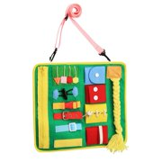AUTCARIBLE Toddler Busy Board Montessori Toys Basic Skills Board Educational Dress Learning Toy