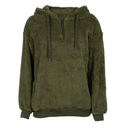 Fymall Winter Women Long Sleeve Fleece Fluffy Hooded Sweatshirt Pullover Warm Jumper Sweaters with 1/4 Zip Fleece Winter Pullover Sweatshirt