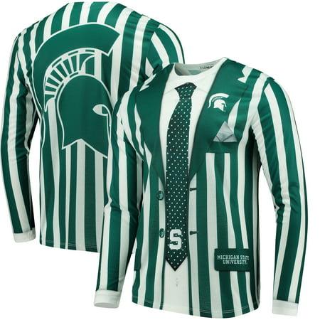 Michigan State Spartans Faux Real Apparel Faux Suit Long Sleeve Shirt - Multi - Spartan Suit