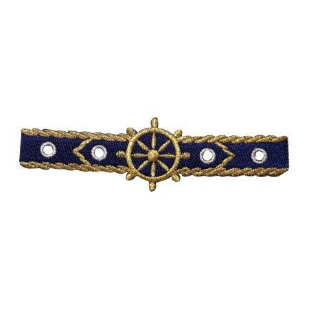 ID 9094 Navy Nautical Strip Patch Ship Wheel Band Embroidered Iron On Applique