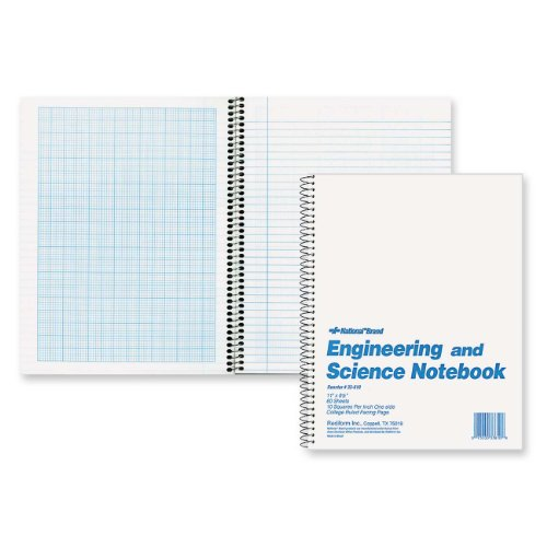 NATIONAL Brand Engineering & Science Notebook, White, 11 x 8.5 60 Sheets (33610)