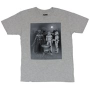 Star Wars Mens T-Shirt - Darth Vader & Troopers Night Time Grilling Adventure