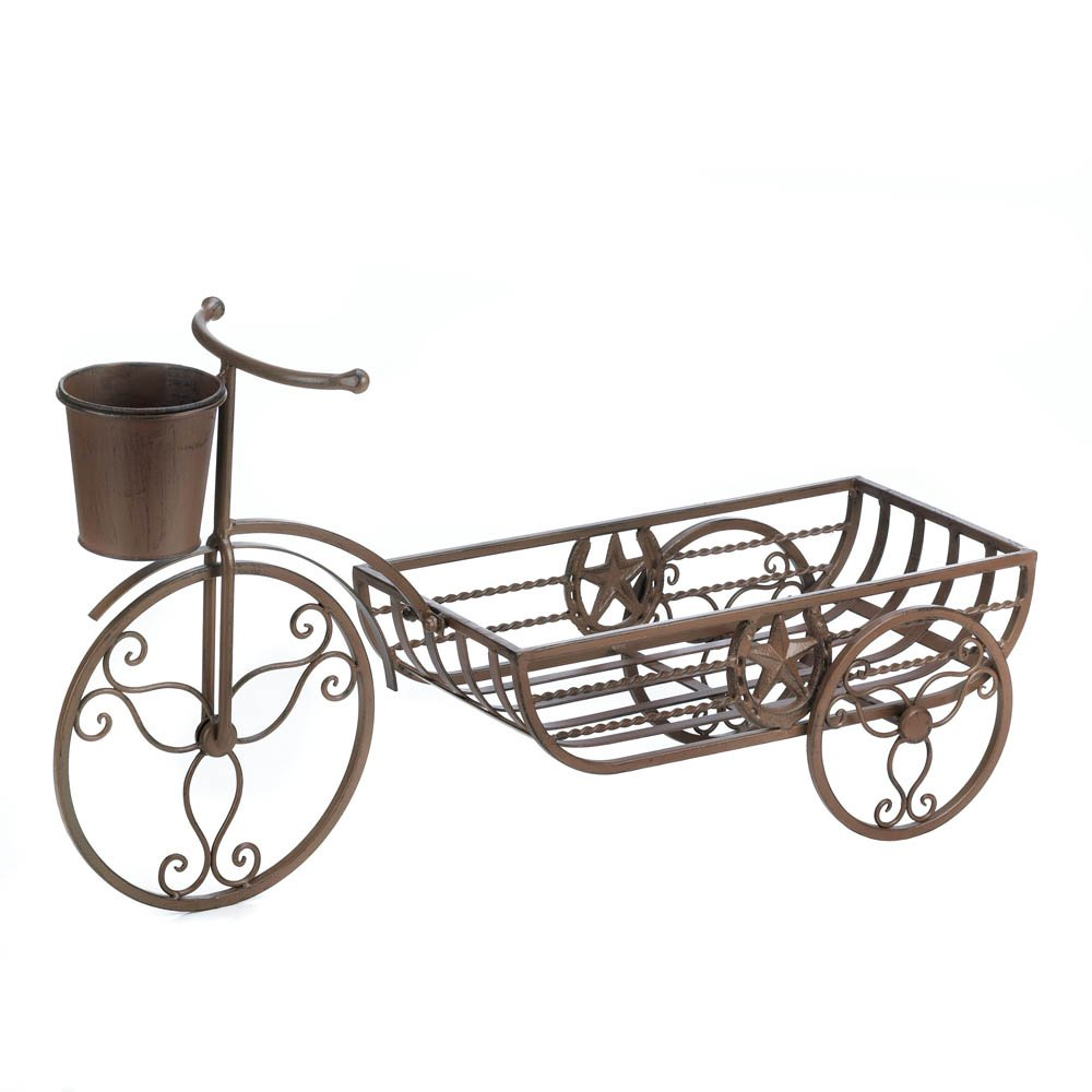 Planters, Large Iron Antique Bicycle Planter Stand