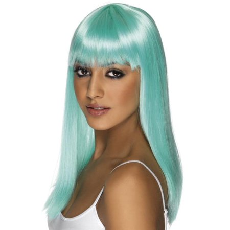Cheap Blue Wigs (Long Straight Neon Aqua Glamourama 80's Punk Rock Adult Costume)