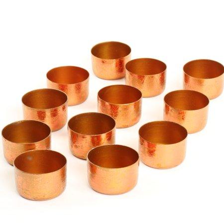 - Koyal Wholesale Rose Gold Copper Metal Tealight Candle Holder Cups, Set of 12, Metallic Tea Light Holders