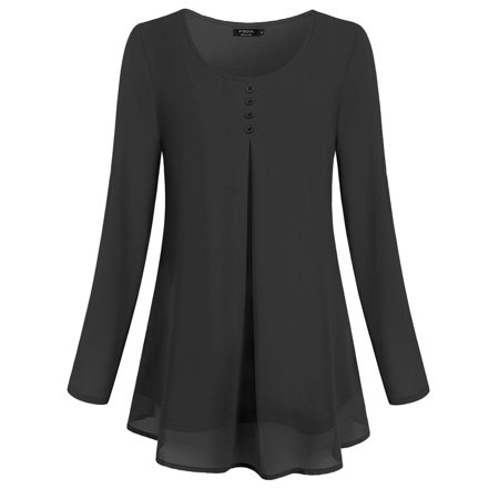 Women Casual Leisure O Neck Pleated Cuffed Sleeve Chiffon T-shirt Blouse Tops - image 2 of 9