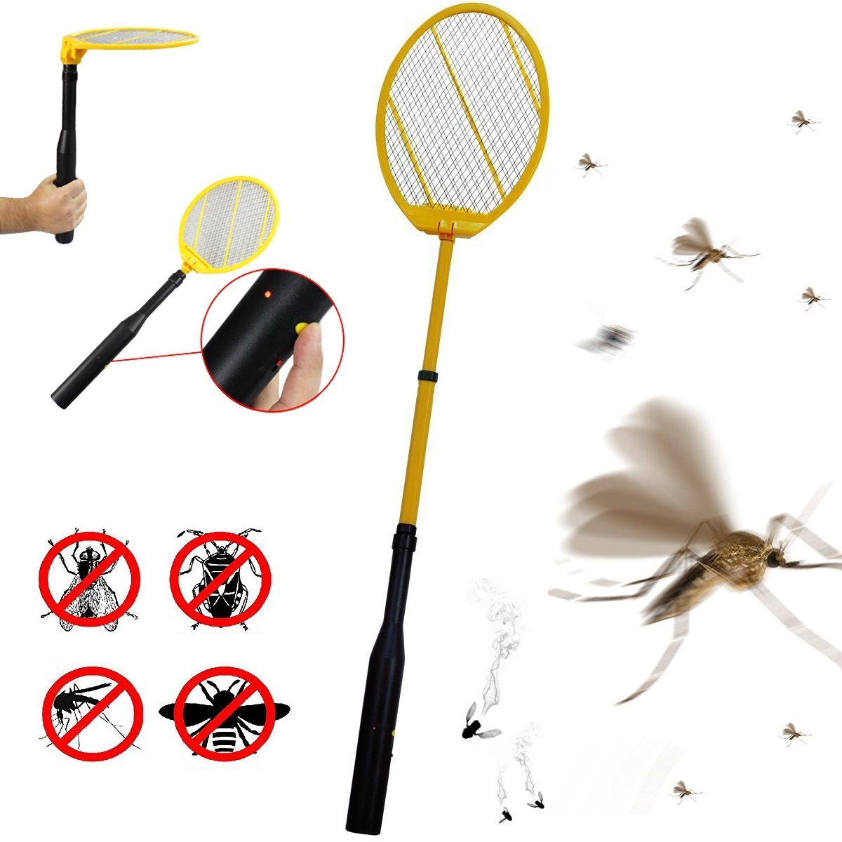 IdeaWorks Telescopic Electronic Bug Zapper Electric Fly Swatter Racket JB6285