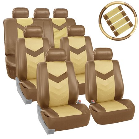 FH Group Synthetic Leather Auto Seat Cover, 7 Seater SUV VAN Full Set With Steering and Belt Pads, Beige and Tan ()