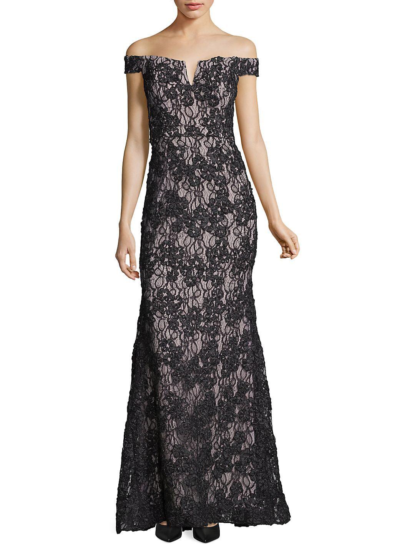 Off-Shoulder Notch-Neckline Flared Lace Gown