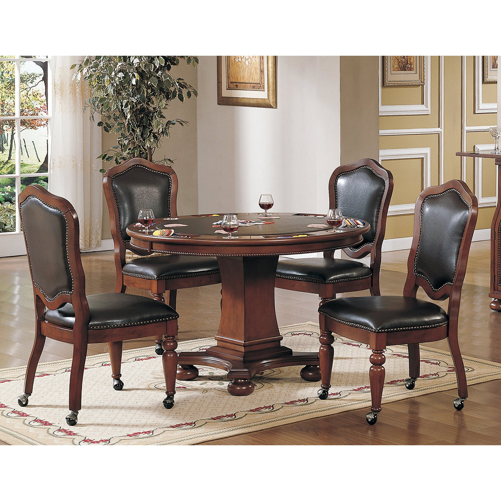 Sunset Trading 5 Piece Bellagio Dining & Game Table Set by