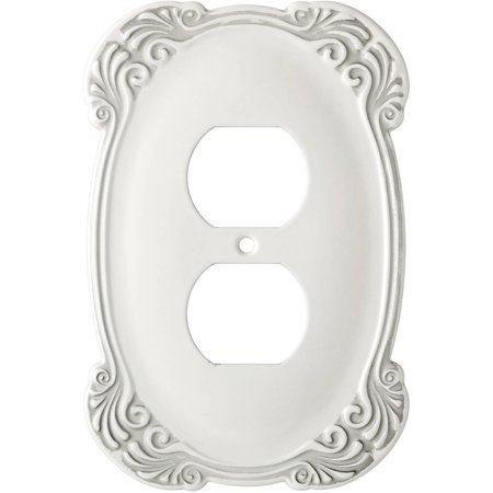 Franklin Brass Arboresque Single Duplex Wall Plate in White (Double Duplex Solid Brass)