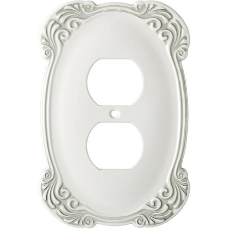Franklin Brass Arboresque Single Duplex Wall Plate in White (Franklin Mint Bill Bell Plate)