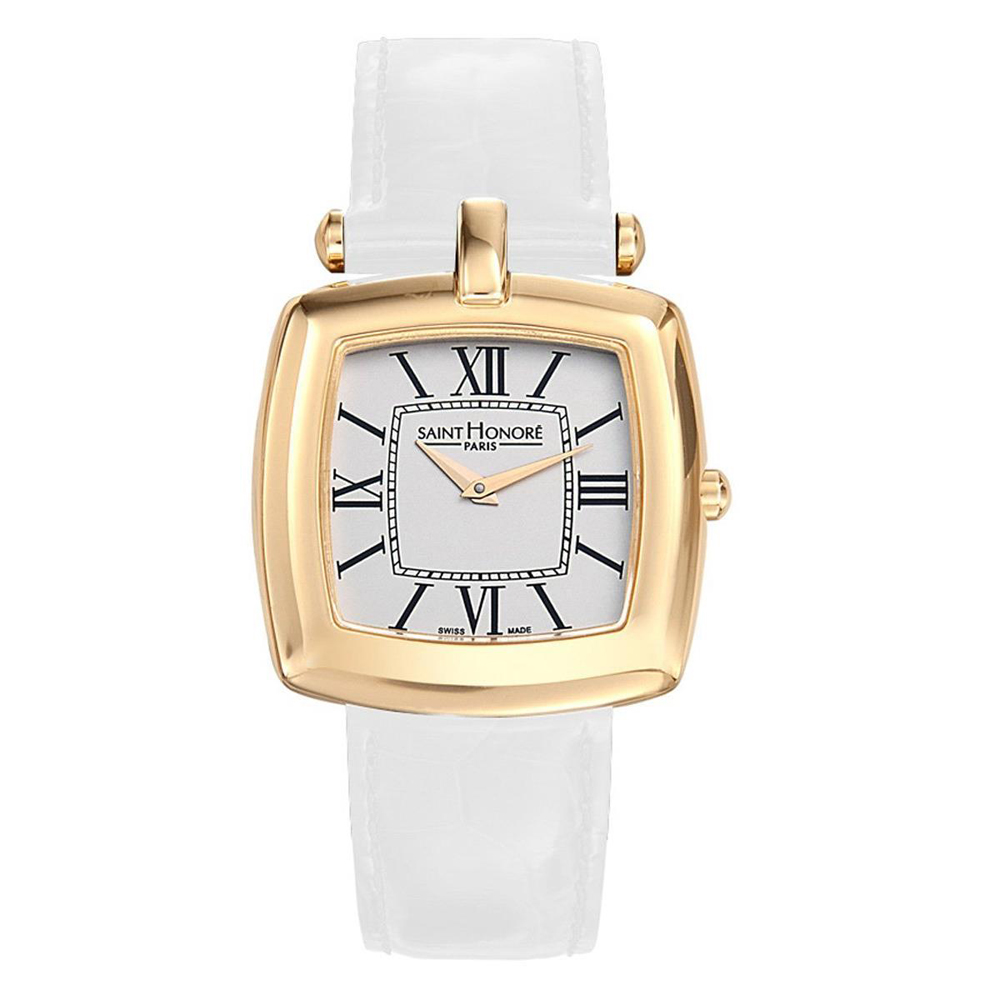 Saint Honore Women's Audacy 34mm White Leather Band Steel...