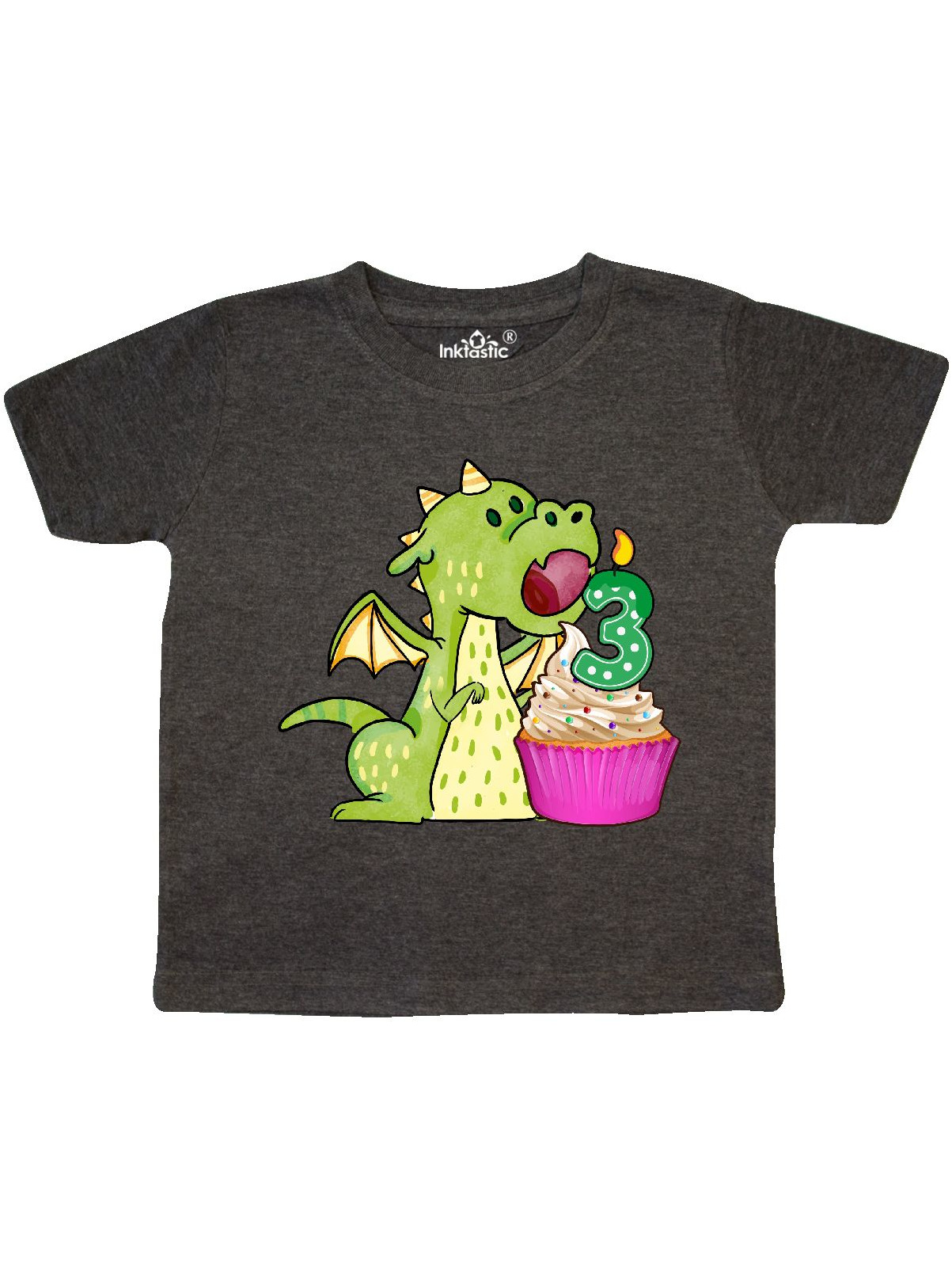 inktastic 3rd Birthday Outfit Girl Dragon Toddler T-Shirt