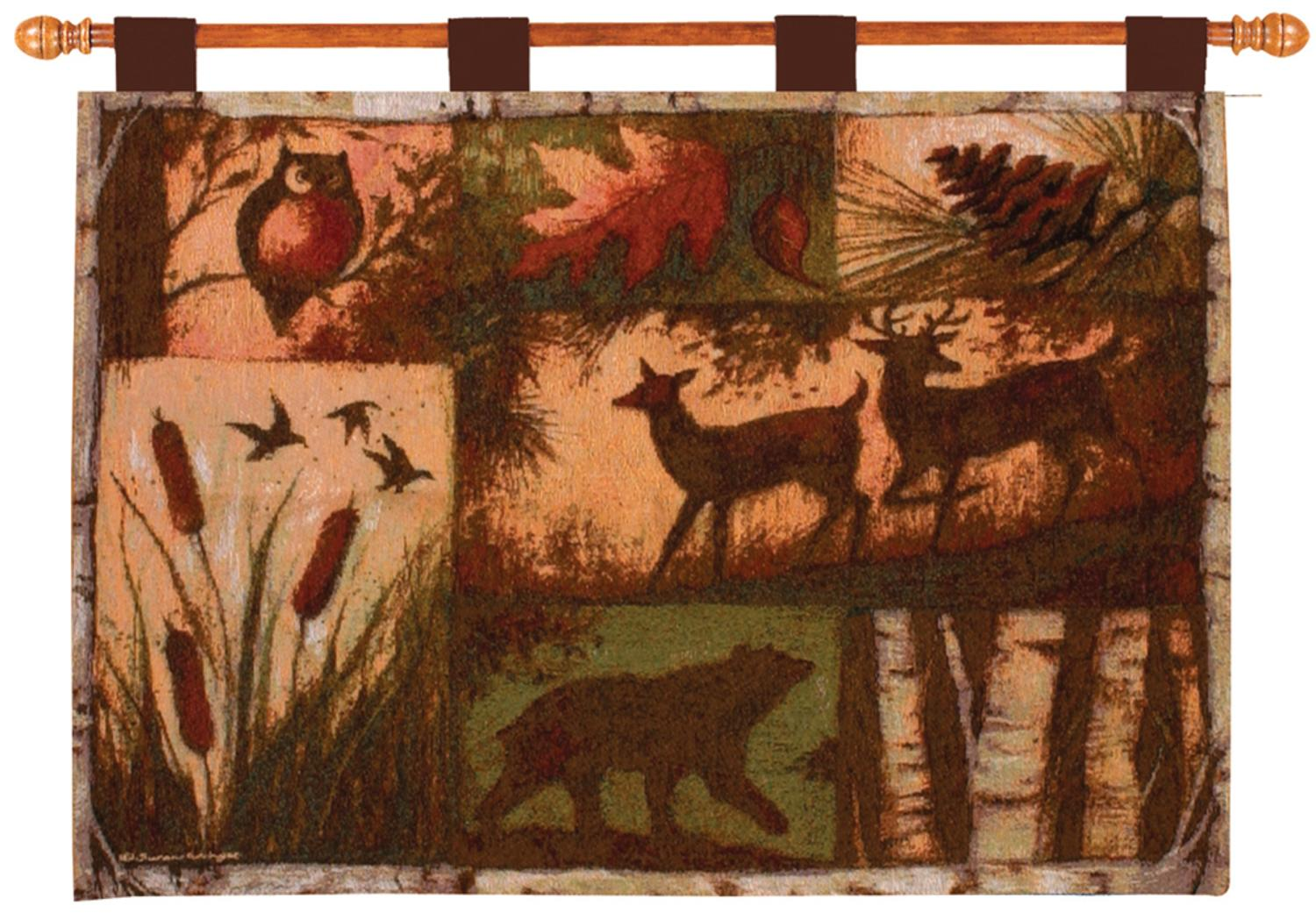 "Lodge Collage Bear, Deer and Owl Woodland Cotton Tapestry Wall Hanging 26"" x 36"" by Manual Weavers"