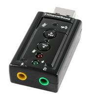 Dual 3.5mm Socket Desktop USB 2.0 Virtual 7.1CH Audio Sound Card 3D Connector