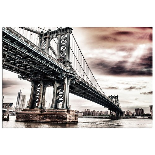 Modern Home Ultra High Resolution Tempered Glass Wall Art - New York Manhattan Bridge 1