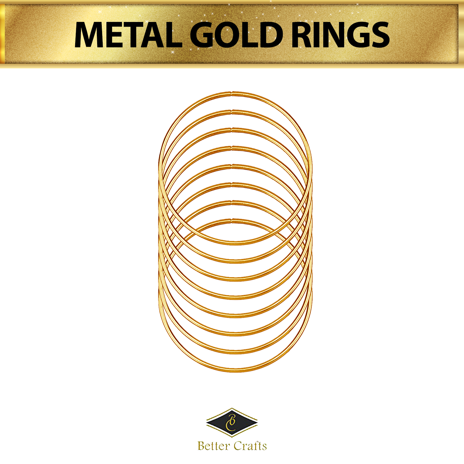 Set of 6 Pieces Assorted METAL GOLD RINGS for Crafts 1 inch/ 2 inch/ 3 inch/ 4 inch/ 5 inch/ 6 inch