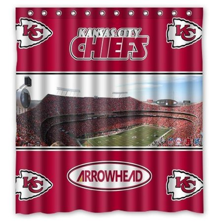 DEYOU Kansas City Chiefs Shower Curtain Polyester Fabric Bathroom Size 66x72 Inches