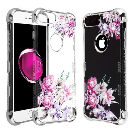 Apple iPhone 8 Plus, iPhone 7 Plus ,iPhone 6/6S Plus Phone Case Hybrid Protective TPU Rubber Bumper Shockproof Heavy Duty Love Flower Diamond Bling Case Cover for Apple iPhone 7 Plus /8 Plus/6 6S