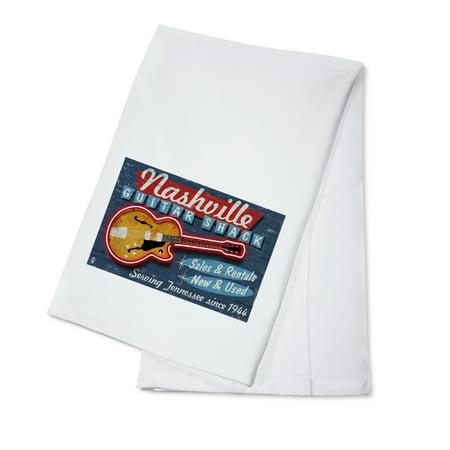 Nashville, Tennesseee - Guitar Shack Vintage Sign - Lantern Press Artwork (100% Cotton Kitchen Towel) How To Sign Artwork