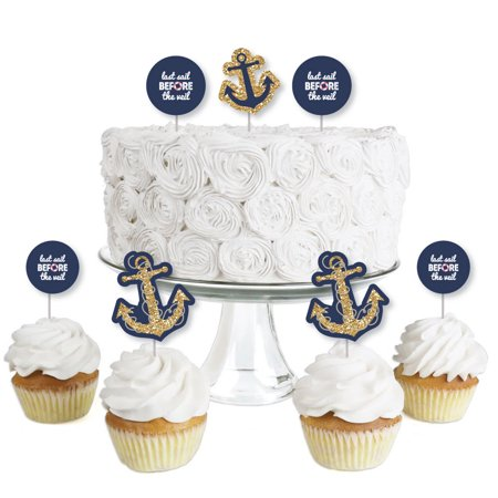 Last Sail Before The Veil - Dessert Cupcake Toppers - Nautical Bachelorette & Bridal Shower Clear Treat Picks - 24 Ct