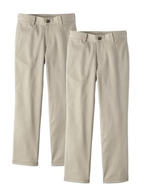 Wonder Nation Boys School Uniform Super Soft Stretch Twill Flat Front Pants, 2-Pack Value Bundle (Little Boys & Big Boys)