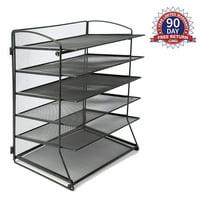 6 Metal Mesh Desktop File Organizer Desk Letter Tray for Office or Home, Black