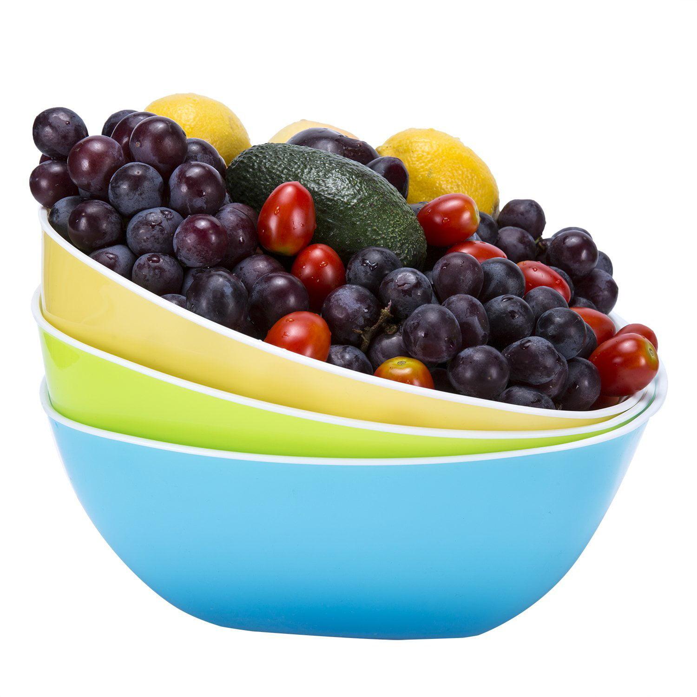Plastic Bowls Bpa Free Kicthen Fruit Bowl Salad Bowl Mixing Bowls Cereal Bowls Candy Dish Set Of 3 Large