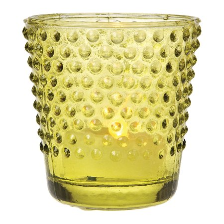 Depression Hobnail - Vintage Glass Glass Candle Holder (2.5-Inch, Candace Hobnail Design, Chartreuse Green) - For Use with Tea Lights - For Parties, Weddings, and Homes