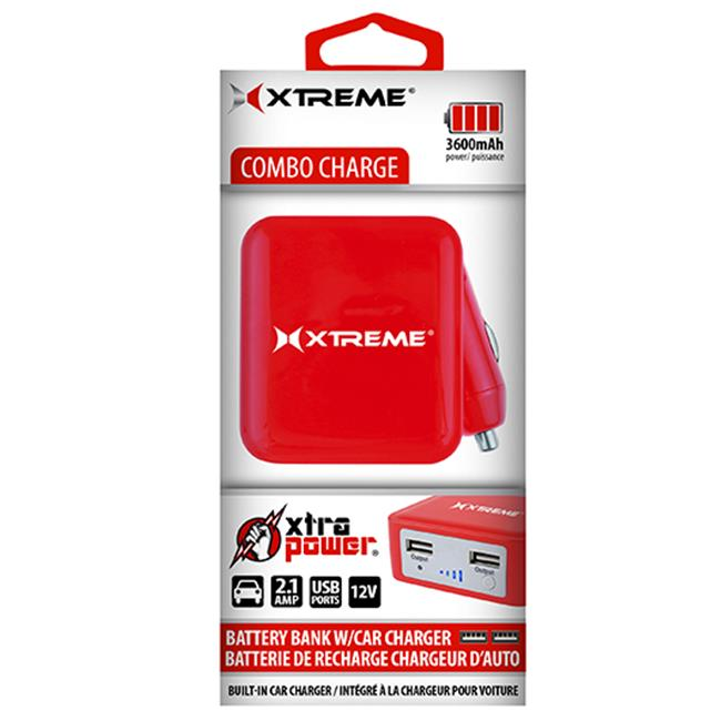 Xtreme Cables 89274 Battery Bank 3,600 Mah Dual USB Port - Red