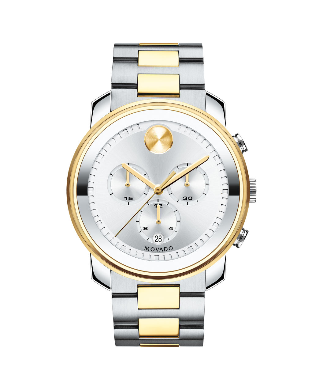 Movado Bold Silver/Gold Two-Toned Chronograph Watch 3600432