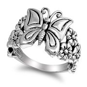 Sterling Silver Women's Butterfly Flower Ring Beautiful 925 Band 16mm Size 10