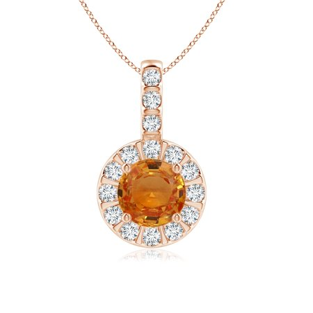 Cyber Monday Sale - Vintage Style Orange Sapphire and Diamond Halo Pendant (6mm Orange Sapphire) - SP0148OSD-RG-AAA-6